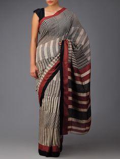 Buy Black Ecru Red Bagh Print Cotton Silk Saree Sarees Printed Online at Jaypore.com