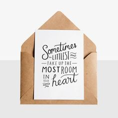 The Littlest Things  Greeting Card  Kraft Envelope - Early Buds has designed these unique hand lettered new arrival / preemie greeting cards, perfect way to congratulate any new parent!