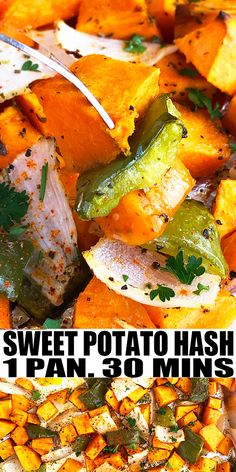 SWEET POTATO HASH RECIPE- The best, healthy, quick and easy sweet potato hash recipe with eggs. Homemade with simple ingredients in one pan in 30 minutes. Loaded with Italian seasoning, onions, peppers. Can also add bacon, shredded chicken or turkey, sausage. From OnePotRecipes.com #sweetpotato #breakfast #hash #vegetarian #onepotrecipes #onepotmeal #30minutemeal #30minuterecipes