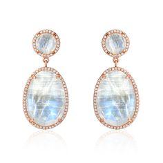 Double Drop Rainbow Moonstone and Diamond Post Earrings