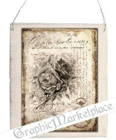 French Rose Letter Large Image A4 Instant Download Vintage