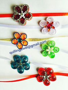Flower Rakhis made with quilling strips Quilling Rakhi, Paper Quilling, Hair Clips, Jewlery, Kids Room, Tutorials, Brooch, Flower, Bag