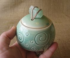 Porcelain Jar with Green Calcite handle Pottery. Carving. Unusual handle.