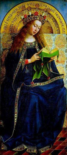 Jan van Eyck (1390-1441) La Vergine Maria, porzione del Polittico dell'Agnello Mistico o Polittico di Gand capolavoro del pittore fiammingo (1426 - 1432)