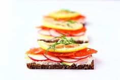 open faced swedish sandwiches from one of my favorite blogs, the year in food. savory food