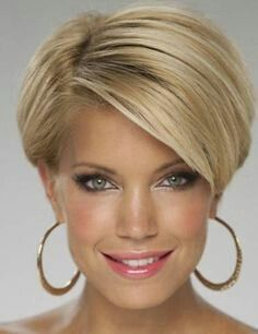 """hair_beauty-Blonde pixie bob """"For mom Kelly"""" Short Hair With Layers, Short Hair Cuts For Women, Layered Hair, Cute Hairstyles For Short Hair, Short Hair Styles, Hairstyles 2018, Short Wedge Hairstyles, Fashion Hairstyles, Fringe Hairstyles"""