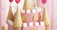 Castle for a princess Square Cake Pans, Square Cakes, Round Cake Pans, Round Cakes, Easy Castle Cake, Pink Food Coloring, Cake Kids, Sugar Cubes, Waffle Cones