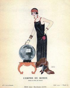 Evening gown by Worth, Pochoir illustration by George Barbier Gazette du Bon Ton February 1924