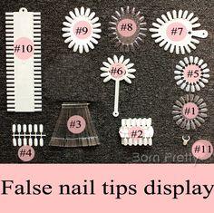 $0.96 Clear White False Nail Tips Art Multi Pattern Display Practice Nail Art Tools - BornPrettyStore.com