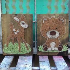 Cadena arte animales ciervos String Art oso String arte