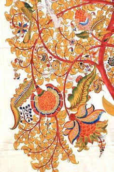 Kalamkaari or Penwork is practiced widely in the southern Indian state of Andhra Pradesh- Aditi Prakash of Pure Ghee Designs uses paintings by J. Niranjan (a renowned kalamkaari artist) for Samode Safari Lodge Mural Painting, Fabric Painting, Kalamkari Designs, Kalamkari Painting, Motifs Textiles, Indian Folk Art, Madhubani Painting, Indian Textiles, Indian Paintings