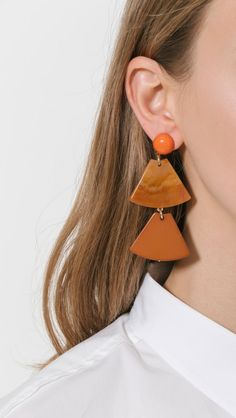 Rachel Comey Labronz Earrings in Tawny, Marble, and Coral | The Dreslyn