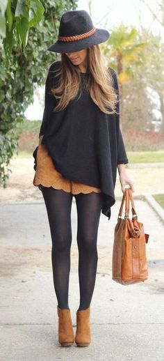 Chic fall outfit idea. | Fall Style |  suede shorts boots, brown purse, suede nice shorts and black blouse. Black and suede total outfit.