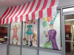 """Painted characters for """"county fair"""" carnival theme! Clown, strong man and """"farmer girl"""" pippi longstocking!"""