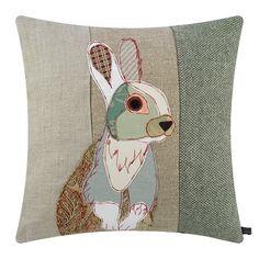 Buy the White Rabbit Cushion - from Carola van Dyke at AMARA. Patchwork Quilt Patterns, Crazy Patchwork, Patchwork Fabric, Applique Patterns, Patchwork Designs, Patchwork Ideas, Motifs D'appliques, Applique Cushions, Wool Applique Quilts