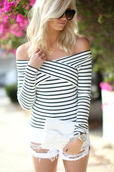 Cold Shoulder Top + White Denim Shorts - Mckenna Bleu