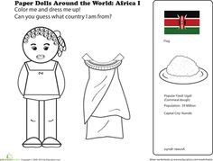 First Grade Social studies Worksheets: African Paper Doll Kids Around The World, Holidays Around The World, Around The Worlds, Coloring For Kids, Coloring Pages, Coloring Worksheets, Harmony Day, Little Passports, Social Studies Worksheets