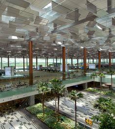 2. Aéroport de Changi (Singapour) : l'éclairage de cet aéroport est en partie assuré par la lumière naturelle grâce à un ingénieux système de lucarnes et de persiennes. L'aéroport dispose en plus de nombreuses activités pour distraire les voyageurs.
