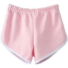 Choies Pink Elastic Waist Sport Shorts ($19) ❤ liked on Polyvore featuring shorts, bottoms, pink and sports activewear