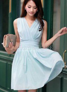 Elegant Vogue Slim  Princess V-Neck Dress