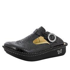 Classic Black Embossed Rose Shoe