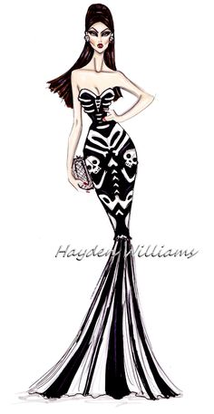 #Hayden Williams Fashion Illustrations Creepy Couture by Hayden Williams: Skeletons in Her Closet