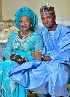 BellaNaija Bride Zainab & BellaNaija Groom Abdullahi in Blue Attires | Dress by Hudayya Couture | Make Up by Mamza Beauty | Hausa Traditional Wedding | George Okoro