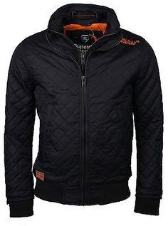 New SUPERDRY Fashion Men's Slim Fit Forces Bomber Jacket Coat Black Navy | eBay