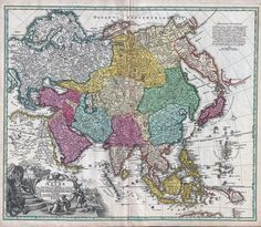 This map, made by Johann Homann in 1730, shows Asia as understood by the Europeans in the early 18th century.
