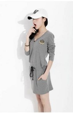 Aliexpress.com : Buy 2013 New Style Spring Autumn Long Sleeve V Neck Cotton Skirt Vintage Gray Dropped Pullover Dress from Reliable Long sleeve Skirt suppliers on Windruner $28.00