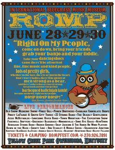 Romp Bluegrass Festival -   This weekend June 28th - 30th, 2012  Owensboro, KY  Should be great - especially with OCMS added!  Wish I could be there.