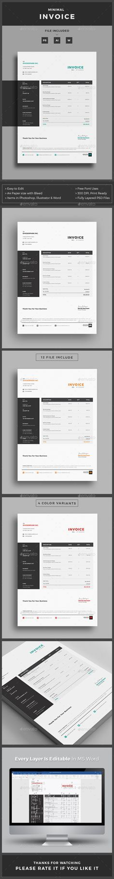 Buy Invoice by deviserpark on GraphicRiver. This Invoice will help you in your business to save time, organize you product data and customers info and easily gen. Invoice Design Template, Presentation Design Template, Stationery Templates, Stationery Design, Print Templates, Brochure Template, Business Templates, Layout
