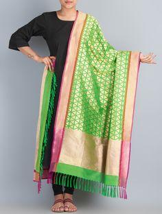 Buy Green Golden Fuchsia Handwoven Silk Dupatta by Shivangi Kasliwaal Accessories Dupattas Classical Antiquity Benarasi Hand Woven Zari in Online at Jaypore.com