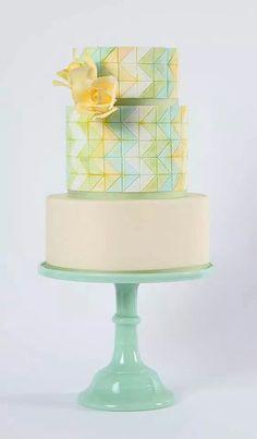 A pastel chevron wedding cake | AK Cake Design | Brides.com