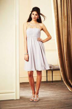 Jewel Knee Length Chiffon Champagne A Line Bridesmaid Dress