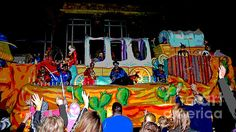 This brightly colored, posterized image is of the side of a float depicting George Custer in the 2013 Crewe of Columbus Mardi Gras parade in Mobile, Alabama. Original photo taken and edited by Marian Bell. Find it for sale at     http://www.fineartamerica/shop/marian-bell.html