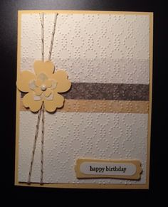 I am on a mission to use up some of my retired DSP.  I Have been working with Le Jardin DSP (retired). Stamp set used is Teeny Tiny Wishes.  Colors used So Saffron & Mossy Meadow & Very Vanilla. Punches used are Pansy, Petite Petals & Itty Bitty Accent. Embossing folder is Elegant Dots. Embellishments are Gold Baker's Twine & Very Vanilla brad.