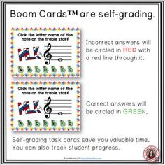 From Music Teacher Resources, these 26 digital task cards on the BOOM Learning™ website are fun, educational and engaging activities to reinforce the concept of rhythm! Each card gives the student one TREBLE note to identify. This game uses both bass lines and spaces. The pitches used are all notes on the lines and spaces from middle C to G above the staff. ♫ ♫ #musiceducation #mtr #boomcardsformusic #boomcards