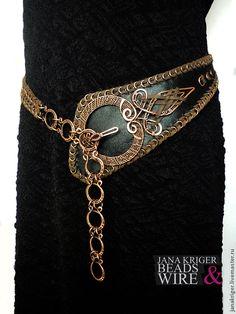 Belt, Handmade belts.  Fair Masters - handmade.  Buy Women belt.  Copper buckle.  Copper.  Leather .. Handmade.