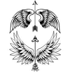 Arrow Tattoos with Angel Wings