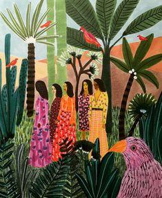 immediately drawn to Dutch-Egyptian artist Roeqiya Fris's spirited illustrations. Inspired by Arab culture, worldly travel Art Inspo, Kunst Inspo, Art And Illustration, Animal Illustrations, Illustrations Posters, Posca Art, Guache, Art Design, Oeuvre D'art