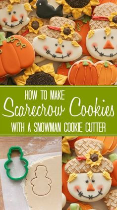 How to make scarecrow cookies with a Wilton snowman cookie cutter via http://Sweetsugarbelle.com