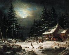 White Horse Inn by Moonlight, Cornelius Krieghoff, National Gallery of Canada (no. Canadian Painters, Canadian Artists, Art Inuit, Richard Iii, Winter Art, Winter Snow, Love Painting, Moonlight Painting, Cornelius