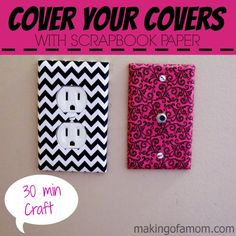 Easy Home Improvement DIY - cover your electrical outlet, light switch and cable plates with scrapbook paper. Fun Crafts, Diy And Crafts, Arts And Crafts, Paper Crafts, Do It Yourself Baby, Light Switch Covers, Diy Room Decor, Home Decor, My New Room