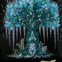 Gorgeous glowing teal blue tree painting, art.