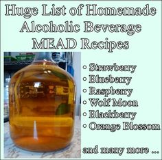 This huge list of homemade alcoholic beverage MEAD recipes gives homesteaders the self sufficiency skill of creating their own alcoholic beverages. Mead is Beverages Homemade Wine Recipes, Homemade Alcohol, Homemade Liquor, Mead Wine Recipes, Moonshine Recipes Homemade, Honey Recipes, Beer Recipes, Drink Recipes, Wine And Liquor