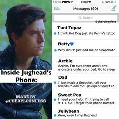 Dentro del teléfono de Jughead. Sigue a @cherylconfess en Instagram para más contenido divertido.