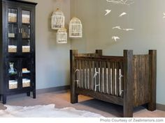 I love the rustic looking crib and hanging birds and bird cages.