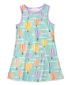 Loving this Turquoise & Lavender Hot Air Balloon Tank Dress - Toddler & Girls on #zulily! #zulilyfinds