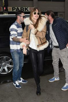 Behati Prinsloo, shearling jacket, leather trousers